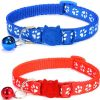 Paw Print Cat Collar - Red and Blue