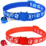 Paw Print Cat Collar – Red/Blue (Pack Of 2)