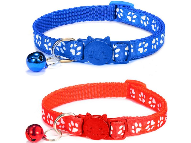 Paw Print Cat Collar – Red and Blue