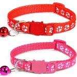 Paw Print Cat Collar, Red & Rose (Pack Of 2)