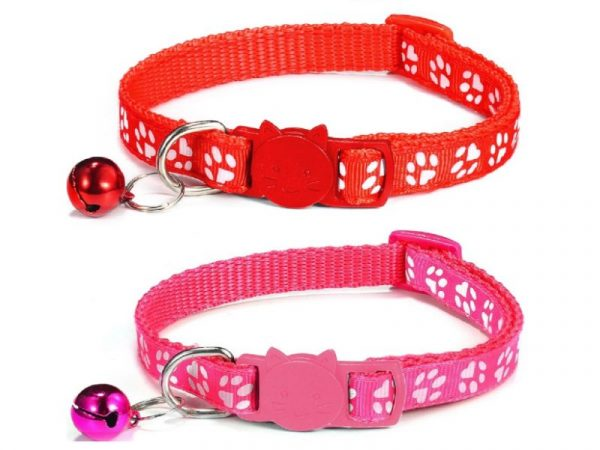 Paw Print Cat Collar – Red and Rose