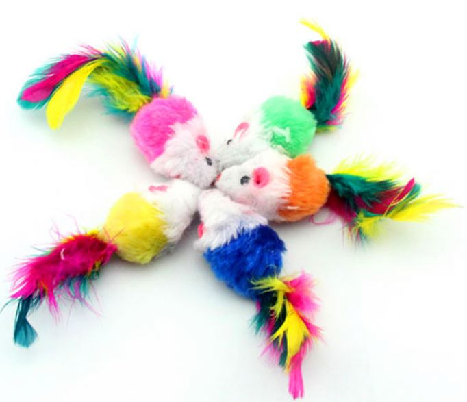 Multi Colour Mice Cat Toy, Firm (Pack of 3)