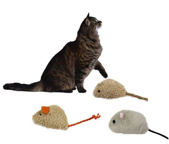 Soft Small Mice Cat Toy, Beige (Pack of ...