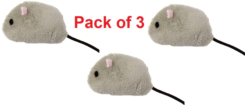 Soft Small Mice Cat Toy, Grey (Pack of 3)