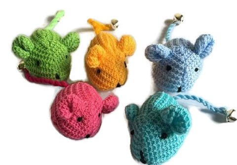 Knitted Mice Cat Toy with Bell