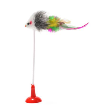 Cat Toy Mouse With Stick On Suction Cup