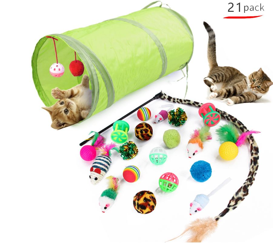 21 Piece Cat Toy Set – Tunnel, Balls, M...