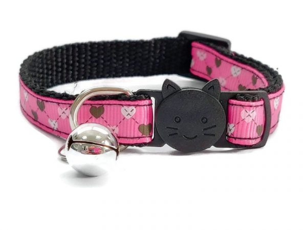 Rose with Small Love Hearts Cat Collar