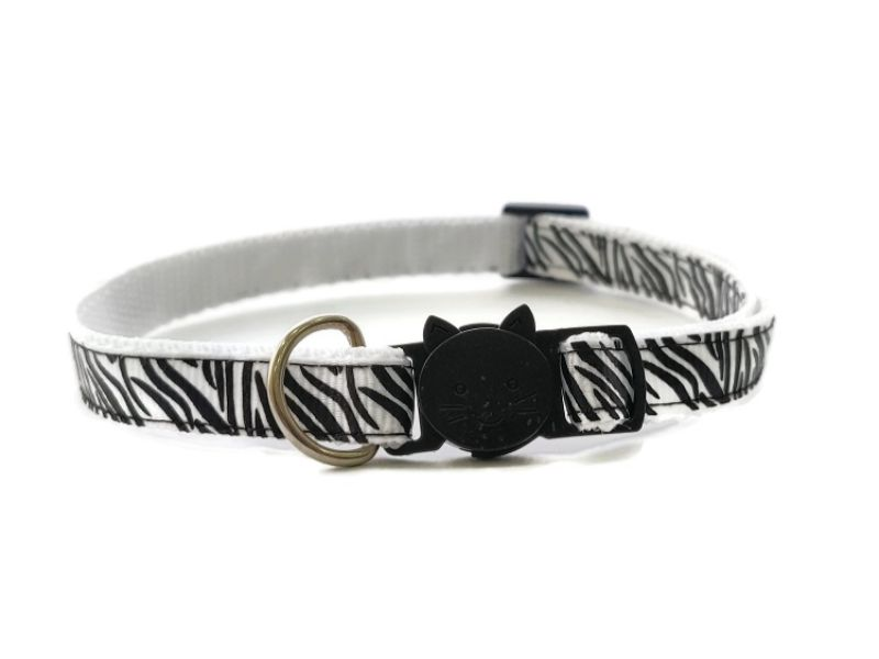 White Zebra Stripe Cat Collar