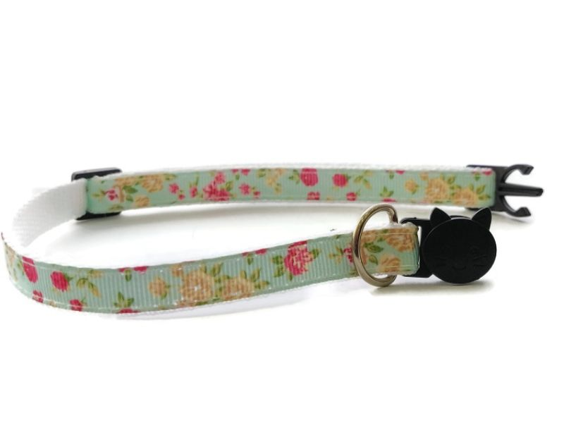 Mint Green Floral Cat Collar