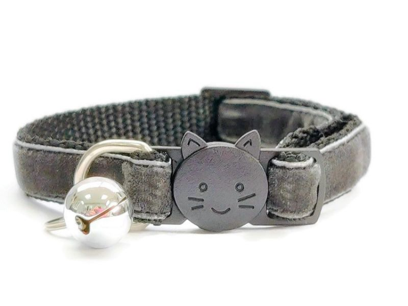 Grey Velvet Cat Collar (Single Sided Velvet)