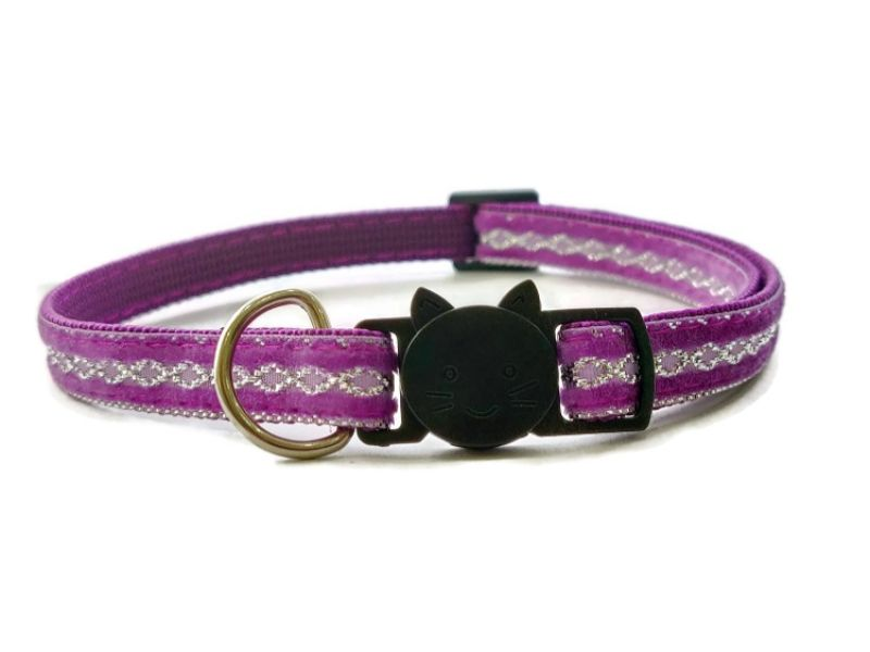 Purple with Sparkle Cat Collar (Single Sided Velvet)