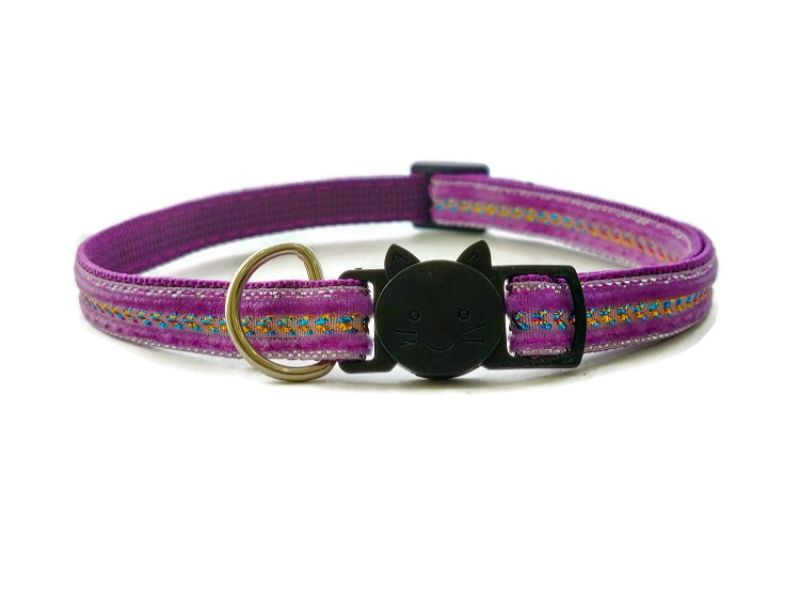 Purple Velvet with Diamante Cat Collar (Single Sided)