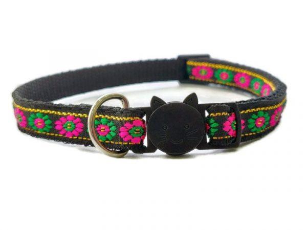Black with Green/Rose Flower Print Cat Collar