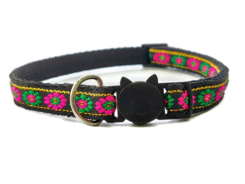 Black with Green/Rose Flower Print Cat Collar
