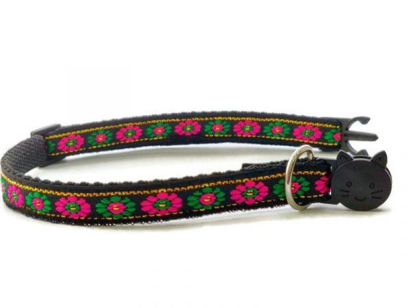 Black with Green/Rose Flower Print Kitten Collar