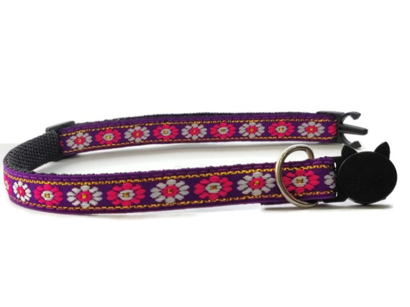 Purple with White/Rose Flower Print Cat Collar