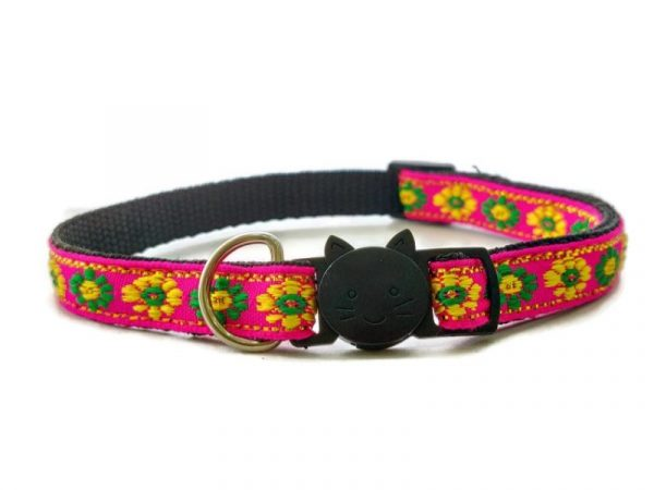 Rose with Green/Yellow Flower Print Cat Collar
