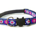 Blue with Rose/White Flower Print Cat Collar