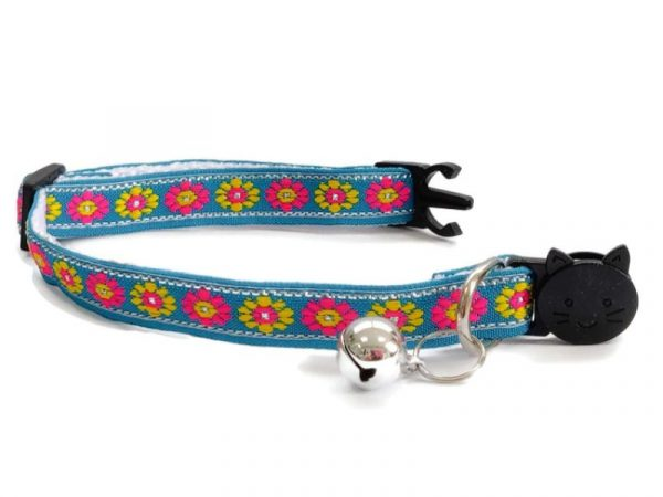 Turquoise with Rose/Yellow Flower Print Kitten Collar