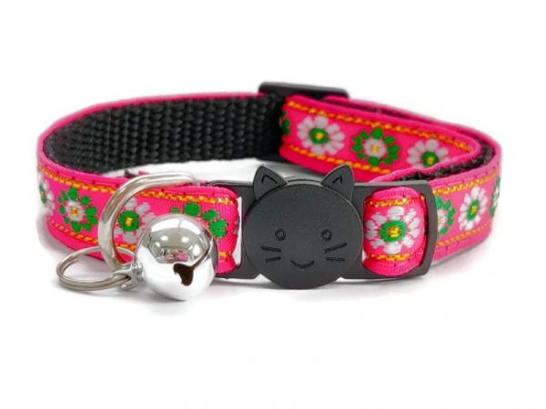 Rose with Green/White Flower Print Cat Collar