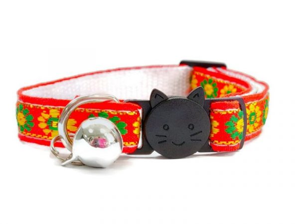 Orange with Green/Yellow Flower Print Cat Collar