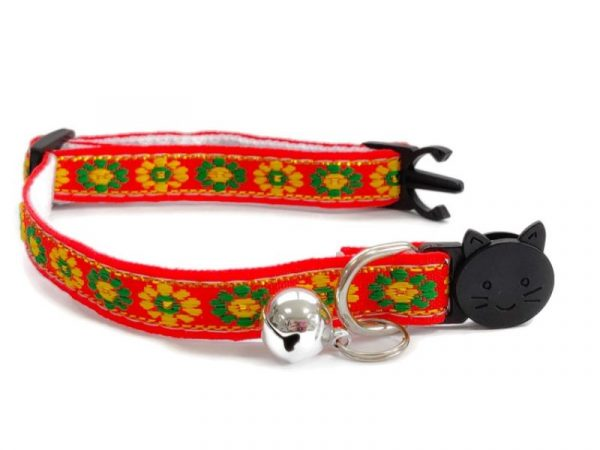 Orange with Green/Yellow Flower Print Kitten Collar
