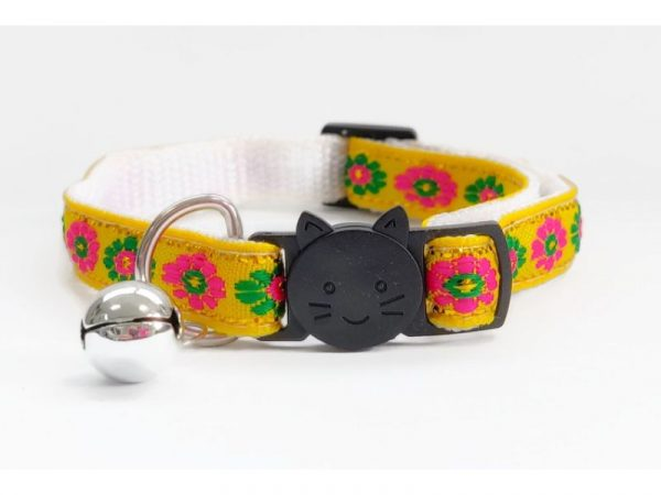 Yellow with Rose/Green Flower Print Cat Collar