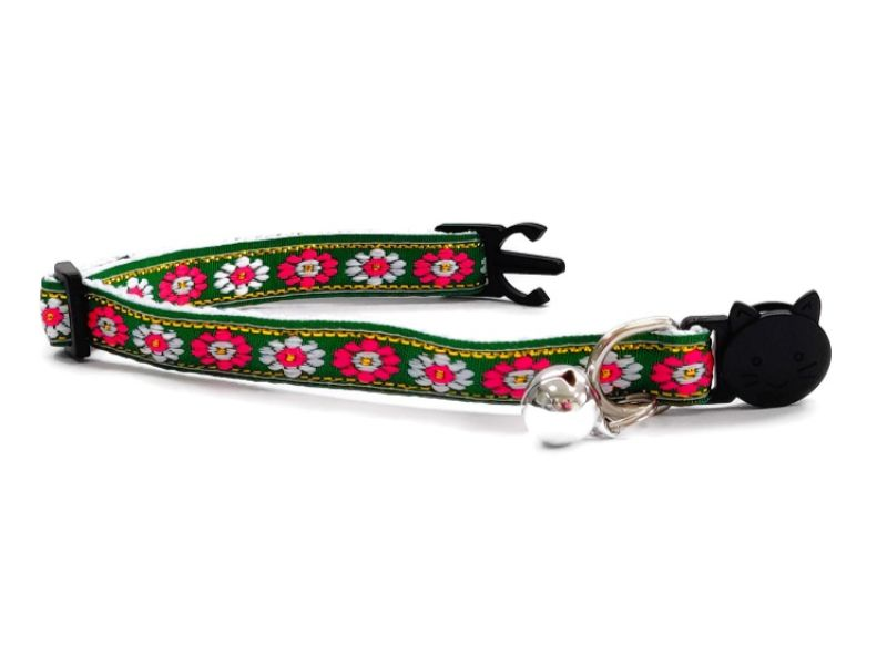 Green with Rose/White Flower Print Cat Collar