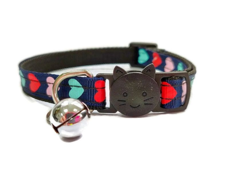 Navy Blue with Red, Pink, Turquoise Hearts Cat Collar
