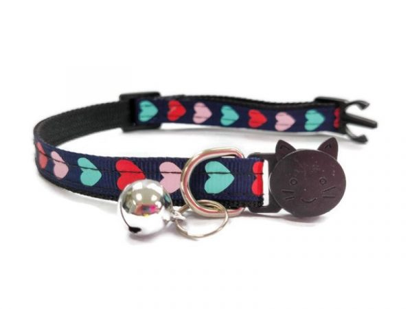 Navy Blue with Red/Pink/Turquoise Hearts Kitten Collar