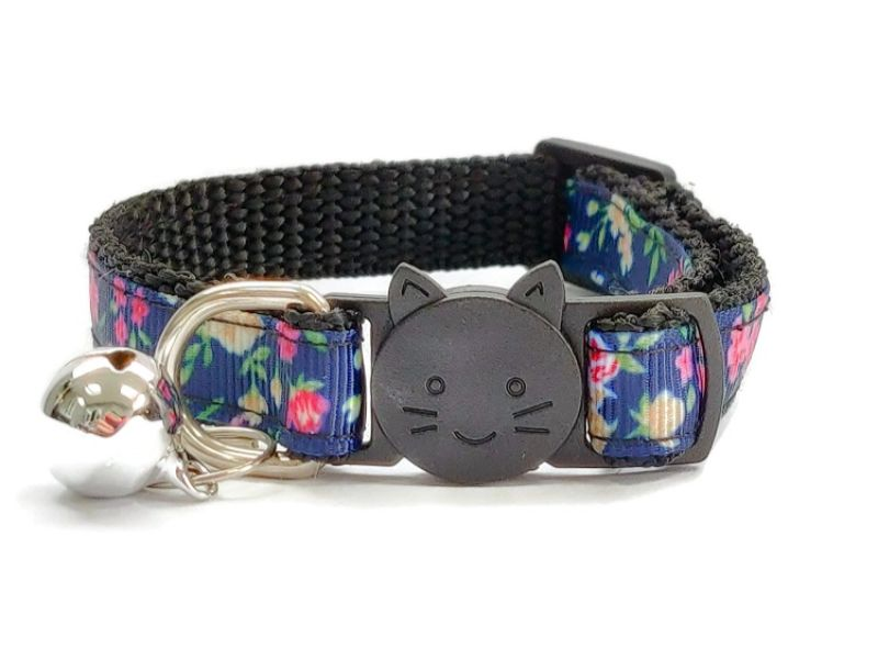 Navy Blue Floral Print Cat Collar