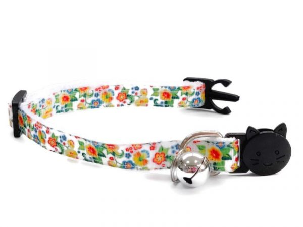 White with Yellow/Green Floral Print Kitten Collar