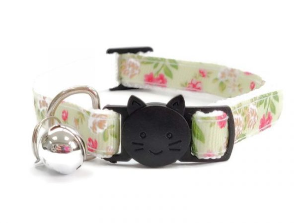 Light Mint Green with Rose Floral Print Cat Collar