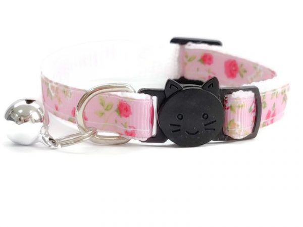 Pink with Rose Floral Print Cat Collar