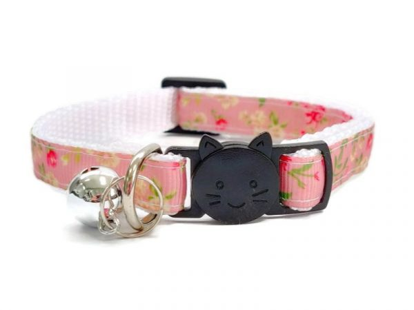Peach with Rose Floral Print Cat Collar
