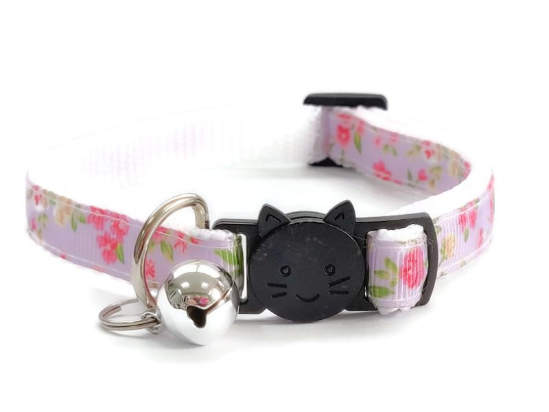 Lilac with Rose Floral Print Cat Collar