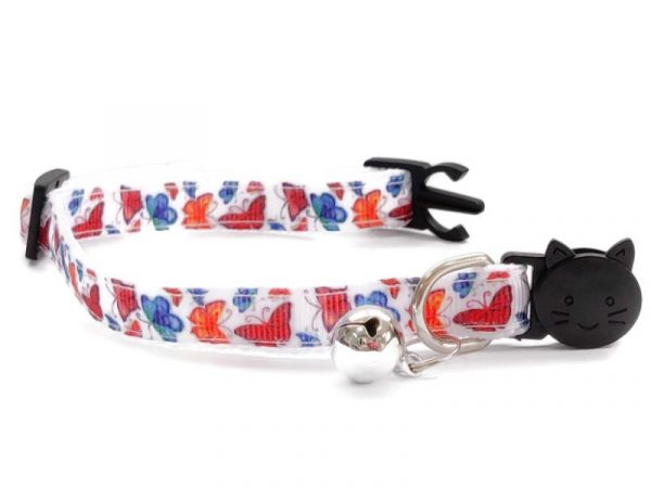 White with Butterfly Print Kitten Collar