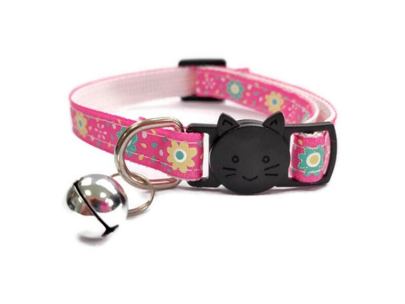 Pink with Green/Yellow Flowers Cat Collar