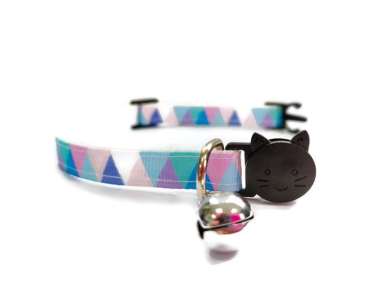 Light Multi Colour Chequered Cat Collar