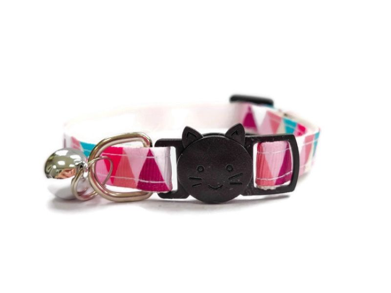 Multi Colour Chequered Cat Collar