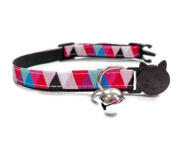 Red Multi Colour Chequered Cat Collar