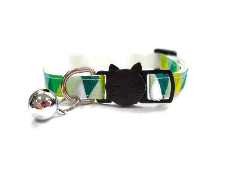 Green Multi Colour Chequered Cat Collar