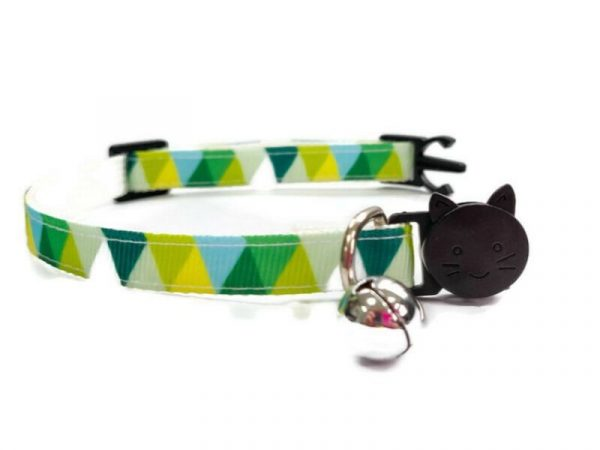 Green Multi Colour Chequered Kitten Collar