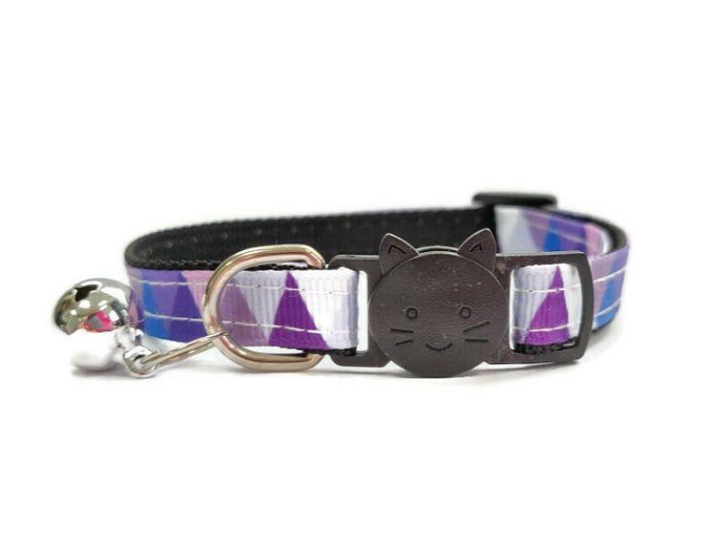 Purple Multi Colour Chequered Cat Collar