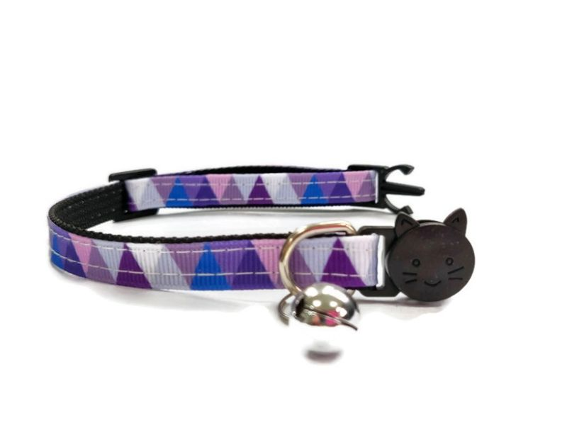 Purple Multi Colour Chequered Cat Collar