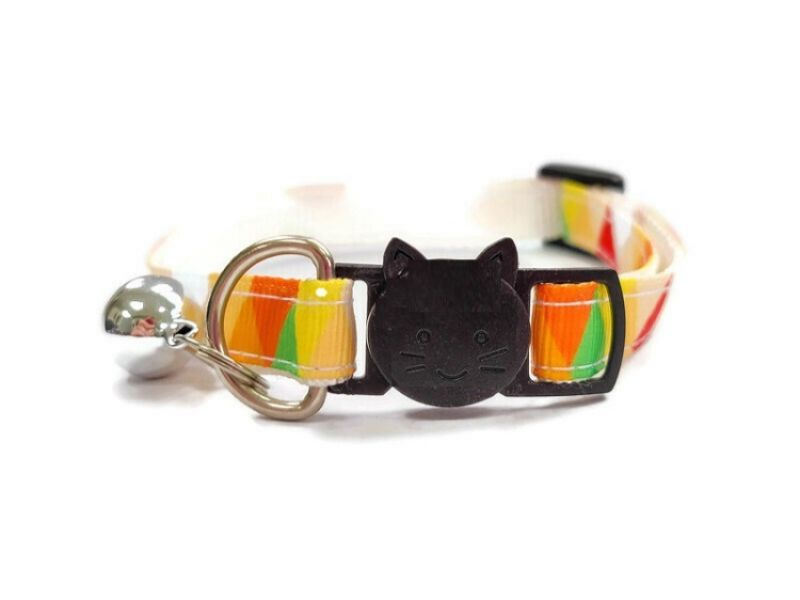 Orange Multi Colour Chequered Cat Collar