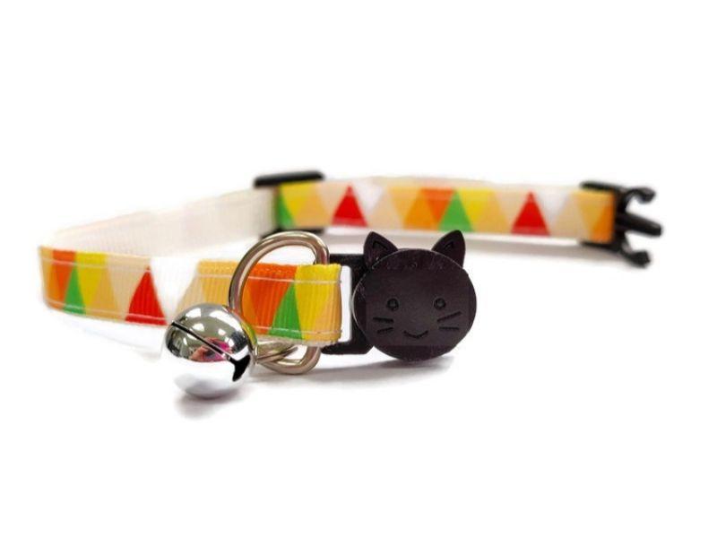 Orange Multi Colour Chequered Cat Collar