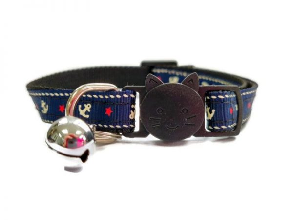 Navy Blue Anchor Cat Collar