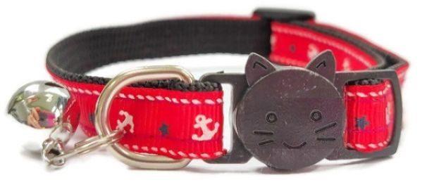 Red Anchor Print Cat Collar